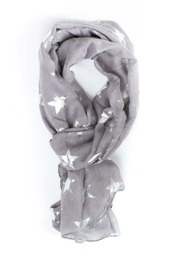 Silver Metallic Large Star Scarf - Tilletts Clothing (2408856944753)
