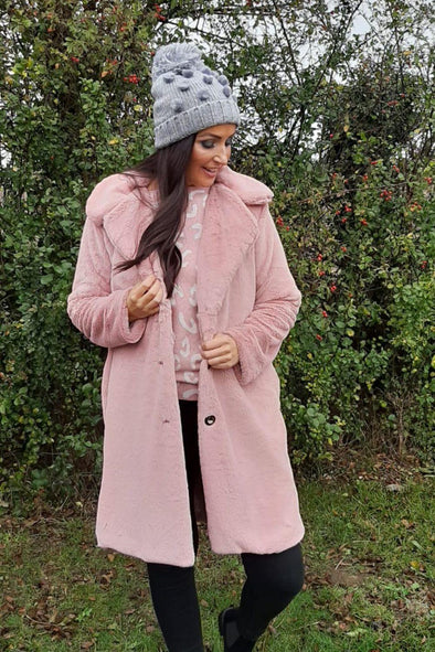 Faux Fur Plain Coat Cara
