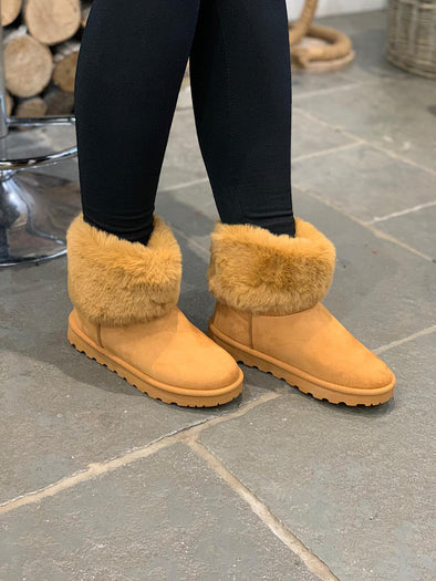 Short Faux Fur Boot Camel