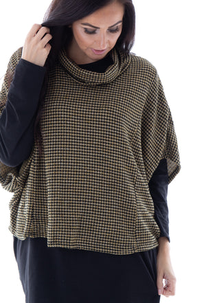 Dita Dogtooth Cowl Neck - Tilletts Clothing (4293031231601)