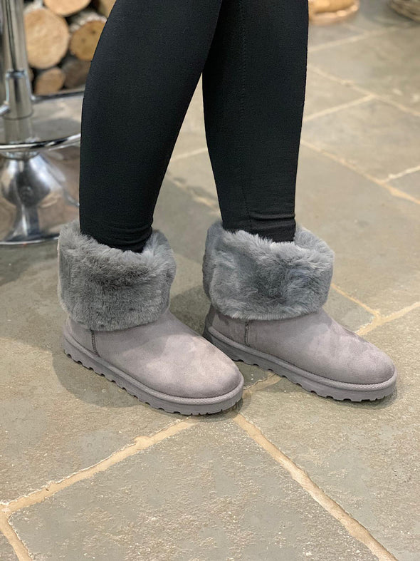 Short Faux Fur Boot Grey