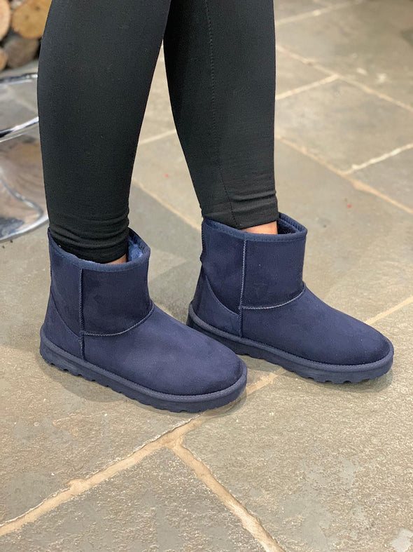 Short Faux Sheepskin Boot Navy
