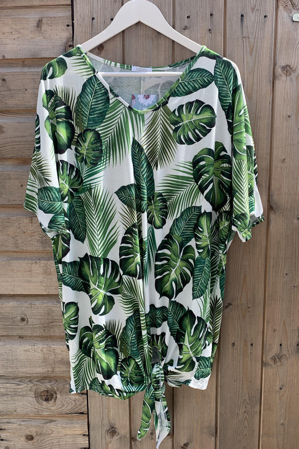 Pearl Palm Print V Neck