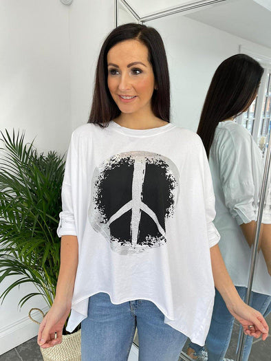 Peace Embellished Top Pam