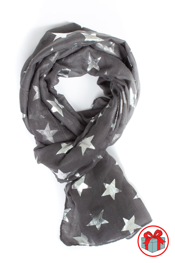 Silver Metallic Large Star Scarf