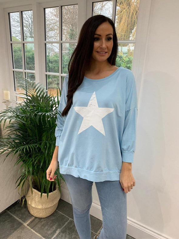 Distressed Star Sweatshirt Gabby