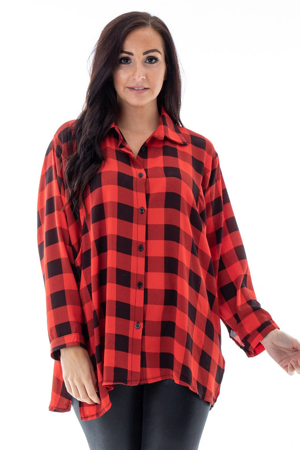Red Checked Boo Shirt - Tilletts Clothing (4293339414641)