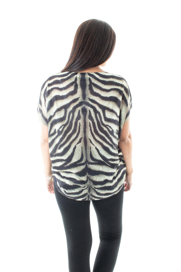 Zena Zebra Top - Tilletts Clothing (3985474846833)