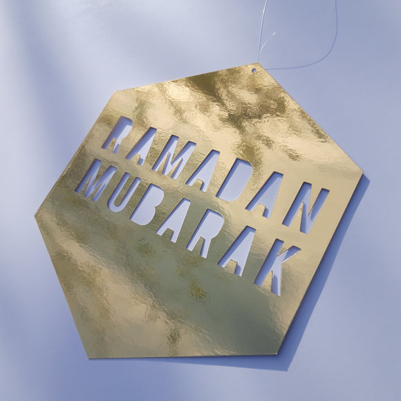 Ramadan Mubarak Gold foil sign