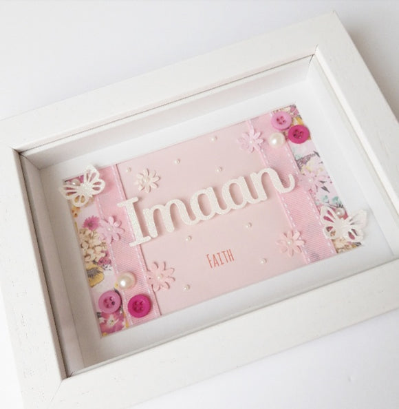Girls Pink Name frame