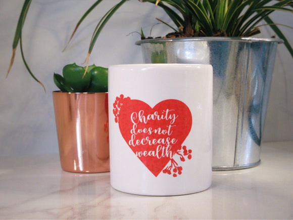Red Heart Charity Money Jar