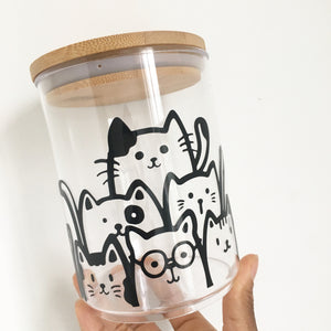 Glass Jar - Cat design
