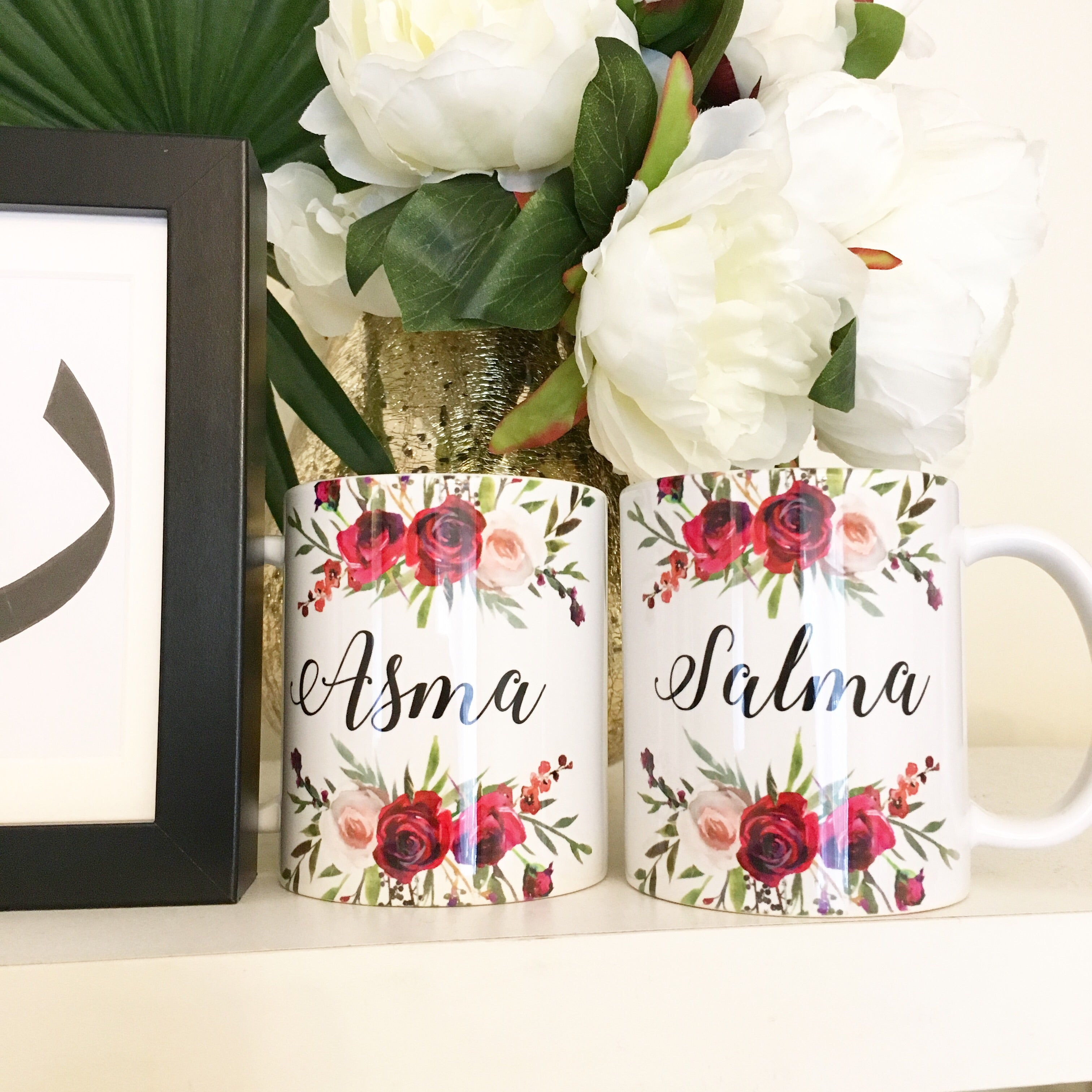 Floral Custom Mug - Printed Text