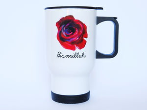 Rose Stainless Steel White Travel Mug