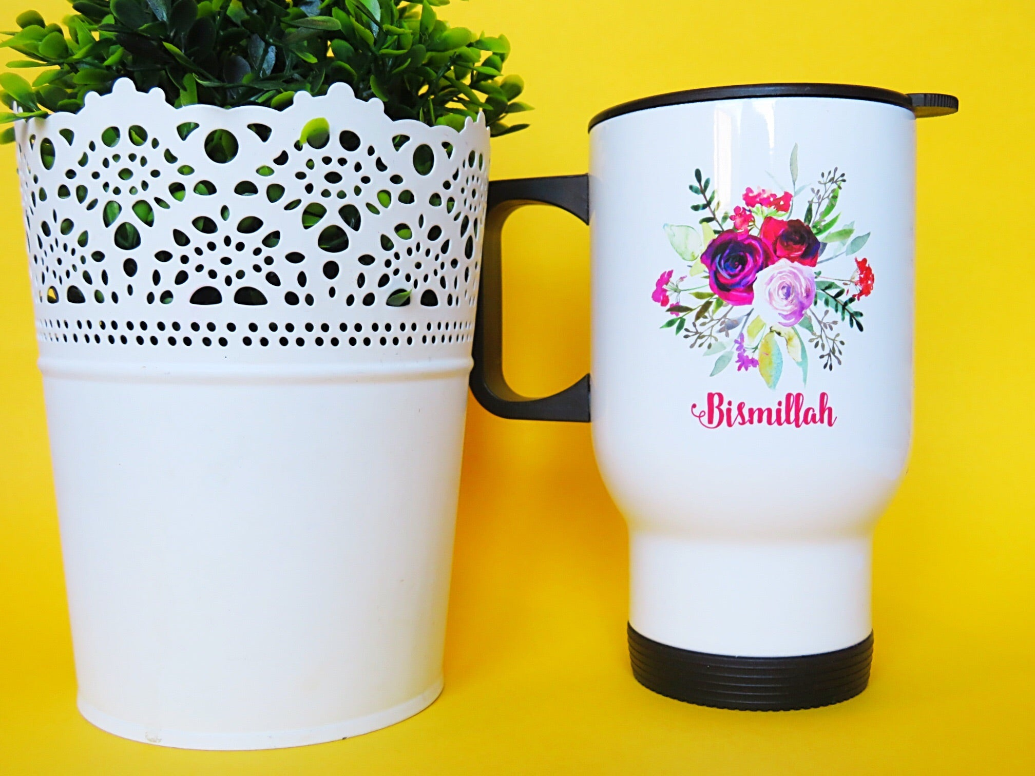 Bouquet Stainless Steel White Travel Mug