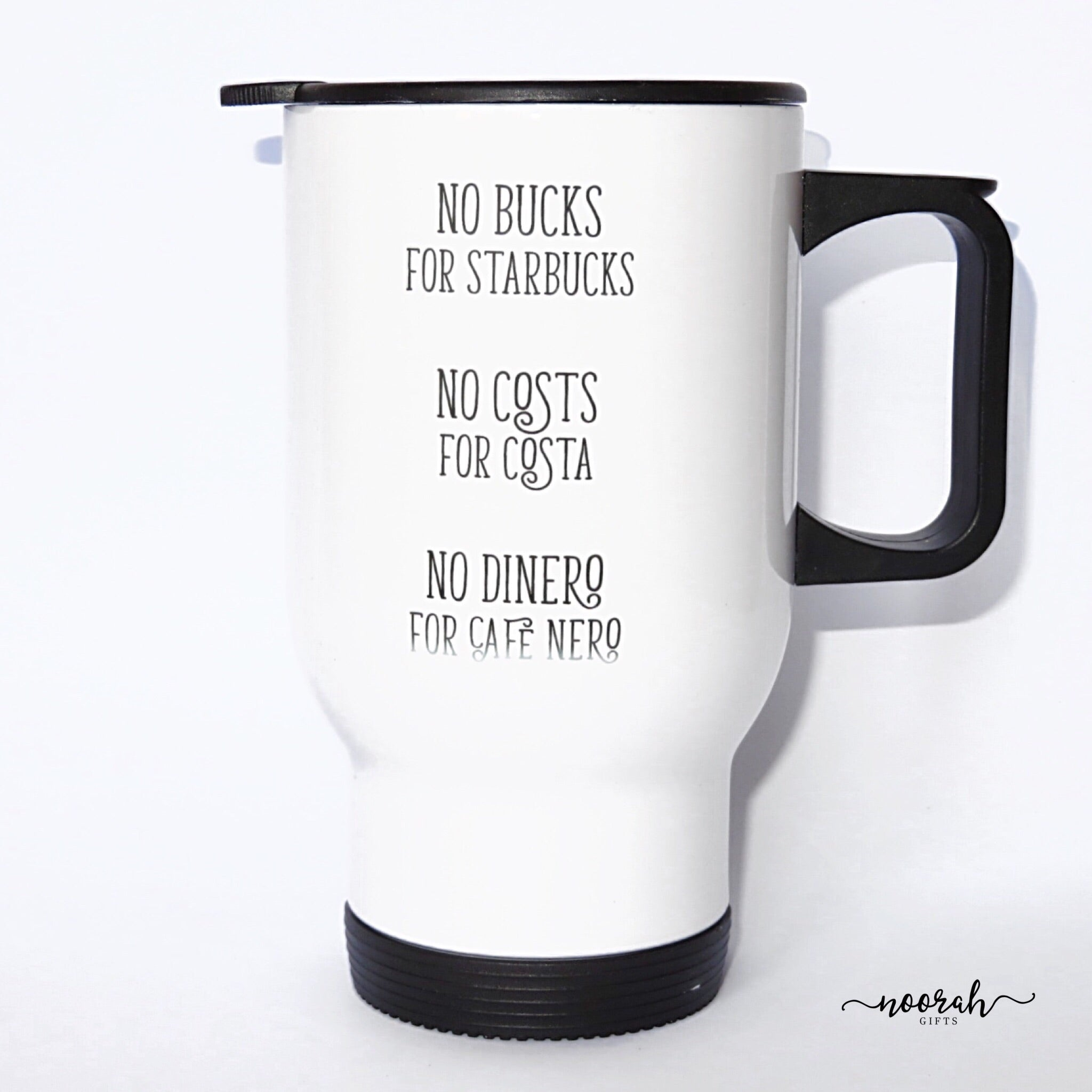 Quirky Quote Stainless Steel White Travel Mug