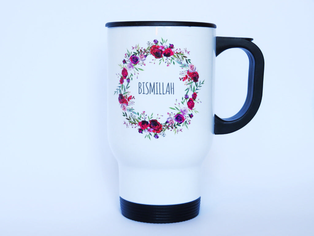 Personalised Wreath Stainless Steel White Travel Mug