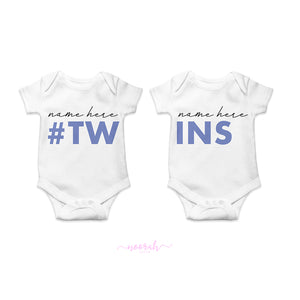 Twins Personalised baby vest (Set of 2)