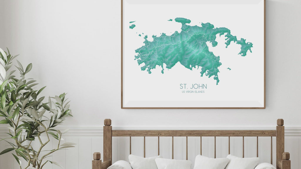 Maps As Art St. John USVI map print turquoise collection video.