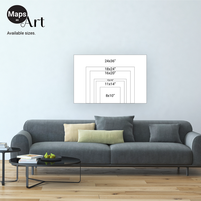 Maps As Art map print size chart