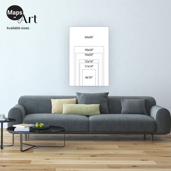 Maps As Art map print sizes.
