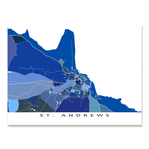 St. Andrews, Fife, Scotland map art print in blue shapes designed by Maps As Art.