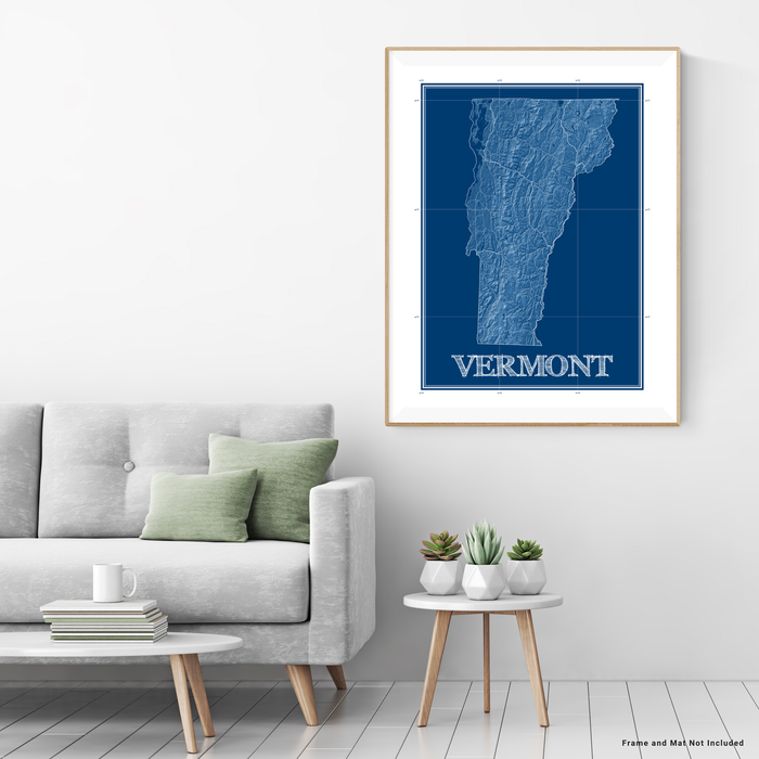 Vermont state blueprint map art print designed by Maps As Art.
