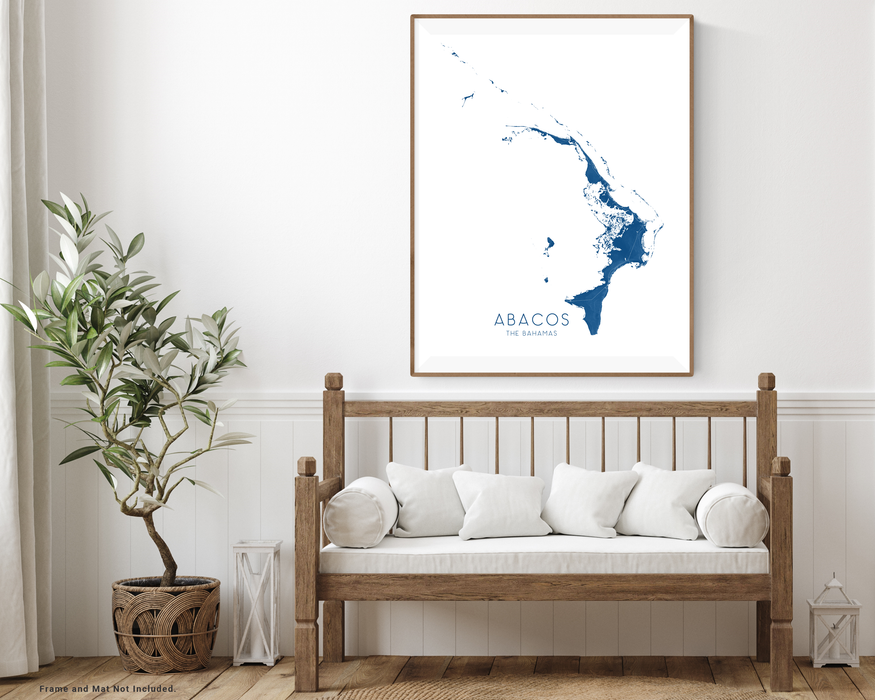Abacos The Bahamas map print with wooden bench home decor by Maps As Art.