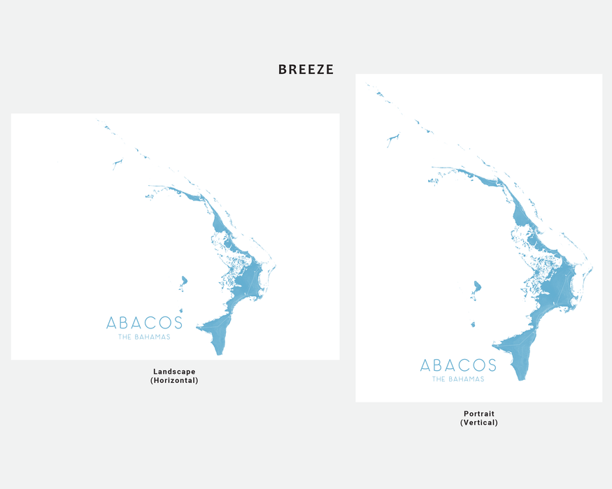 Abacos The Bahamas map print in Breeze by Maps As Art.