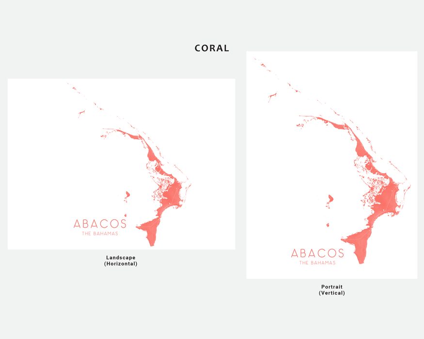 Abacos The Bahamas map print in Coral by Maps As Art.