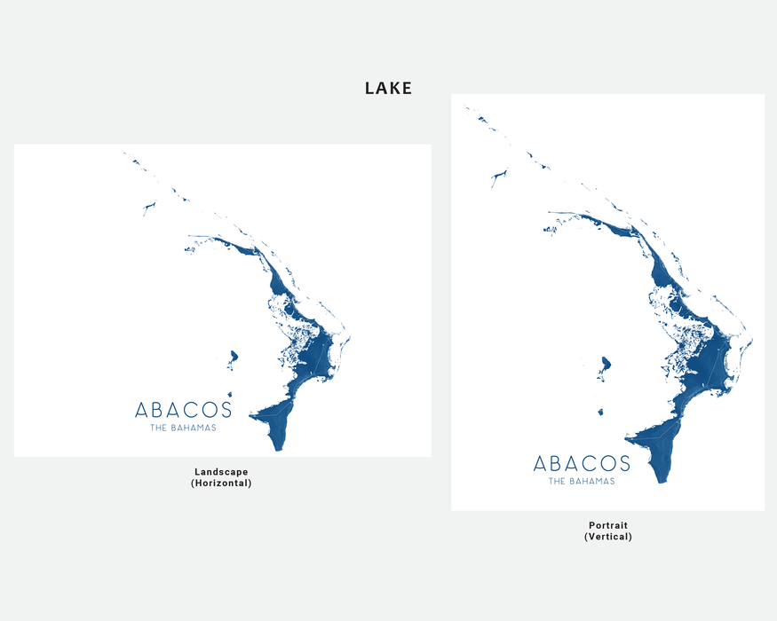 Abacos The Bahamas map print in Lake by Maps As Art.