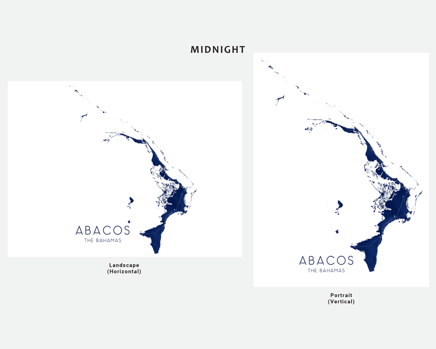Abacos The Bahamas map print in Midnight by Maps As Art.