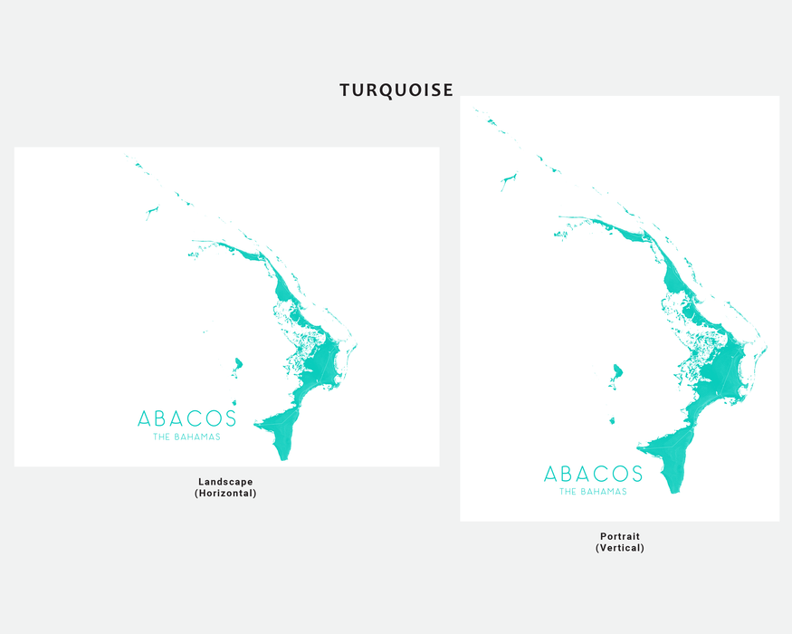 Abacos The Bahamas map print in Turquoise by Maps As Art.