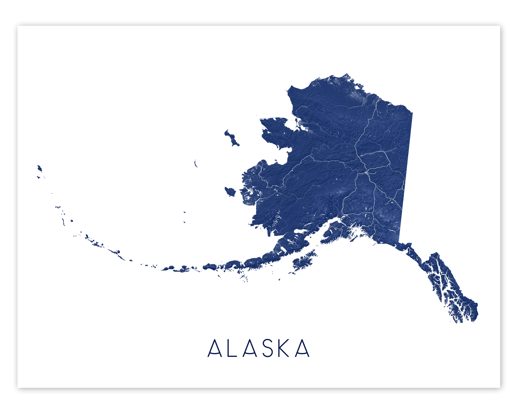 Alaska state map print in Midnight by Maps As Art.