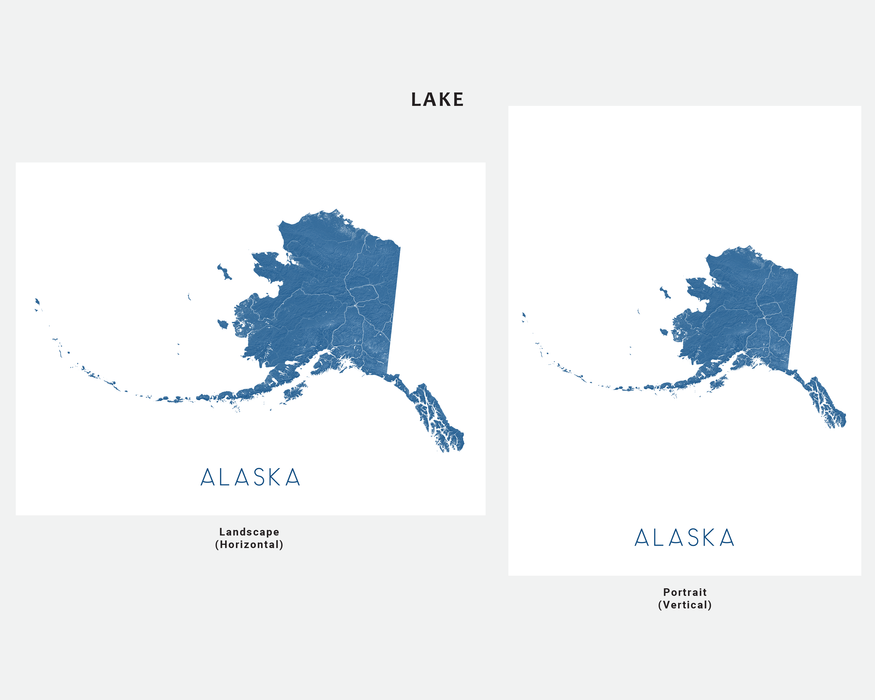 Alaska state map print in Lake by Maps As Art.