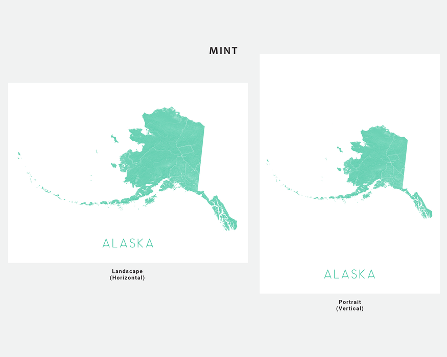 Alaska state map print in Mint by Maps As Art.