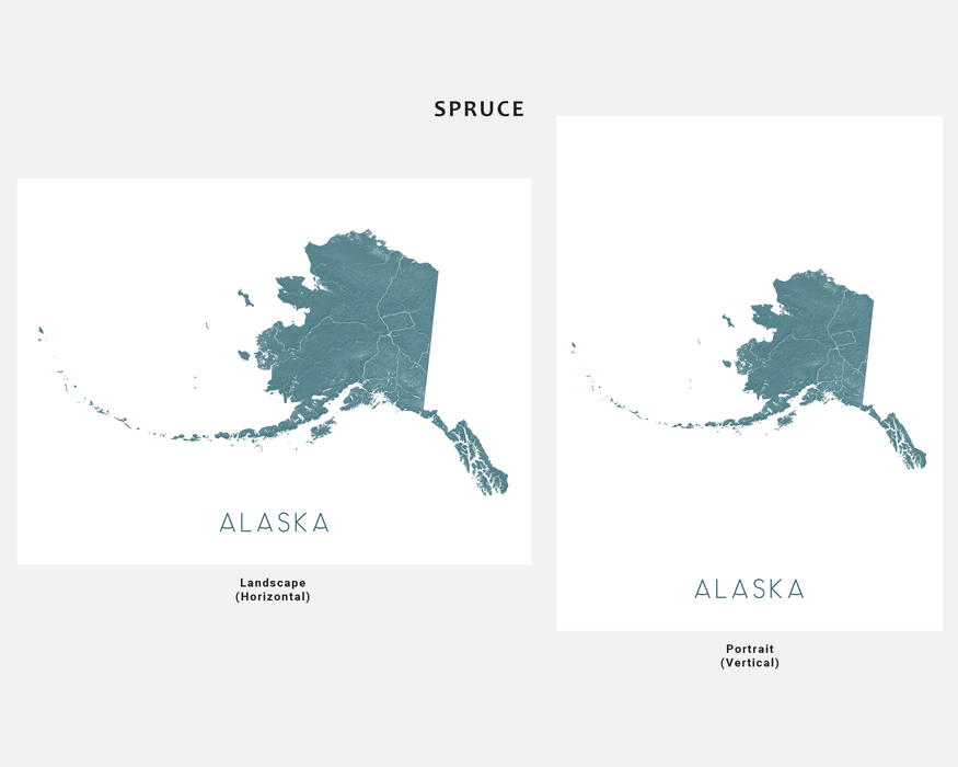 Alaska state map print in Spruce by Maps As Art.