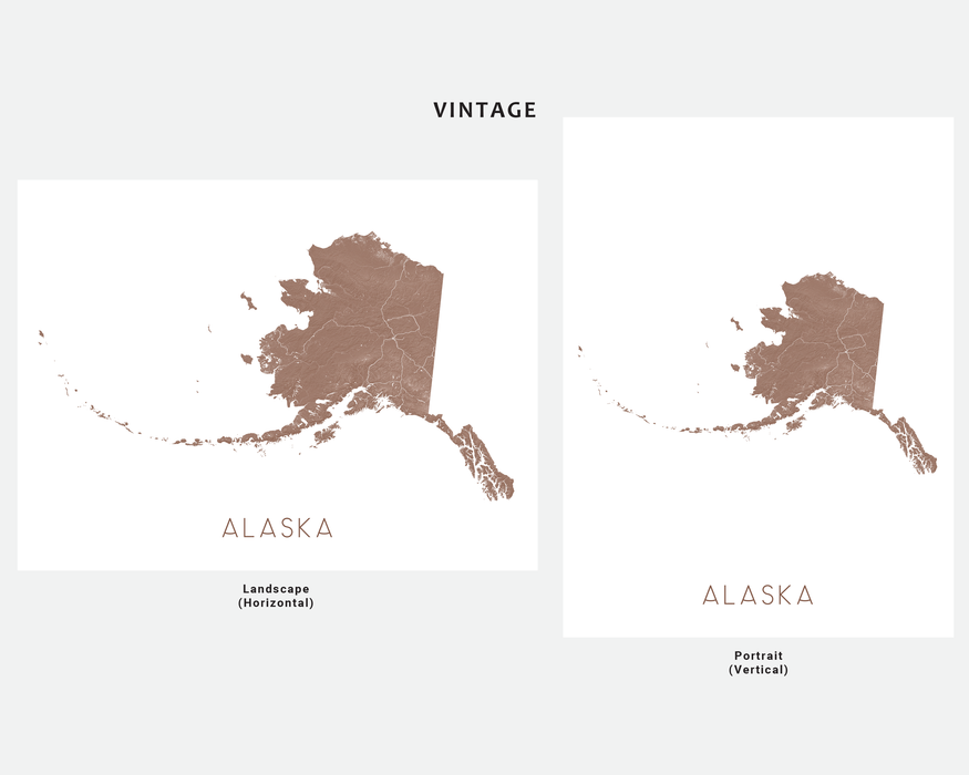 Alaska state map print in Vintage by Maps As Art.