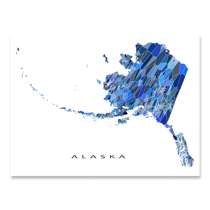 Alaska state map art print in blue shapes from Maps As Art.