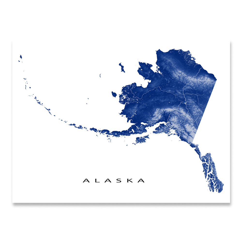 Alaska state map with natural landscape in navy from Maps As Art.