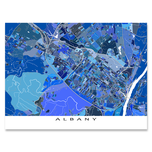 Albany, New York map art print in blue shapes from Maps As Art.