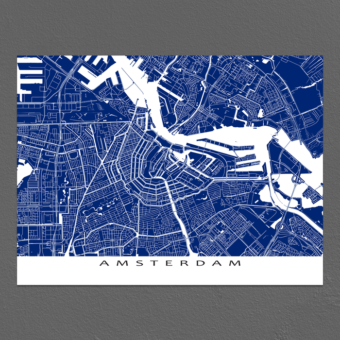 Amsterdam Map Print, Netherlands, Colors
