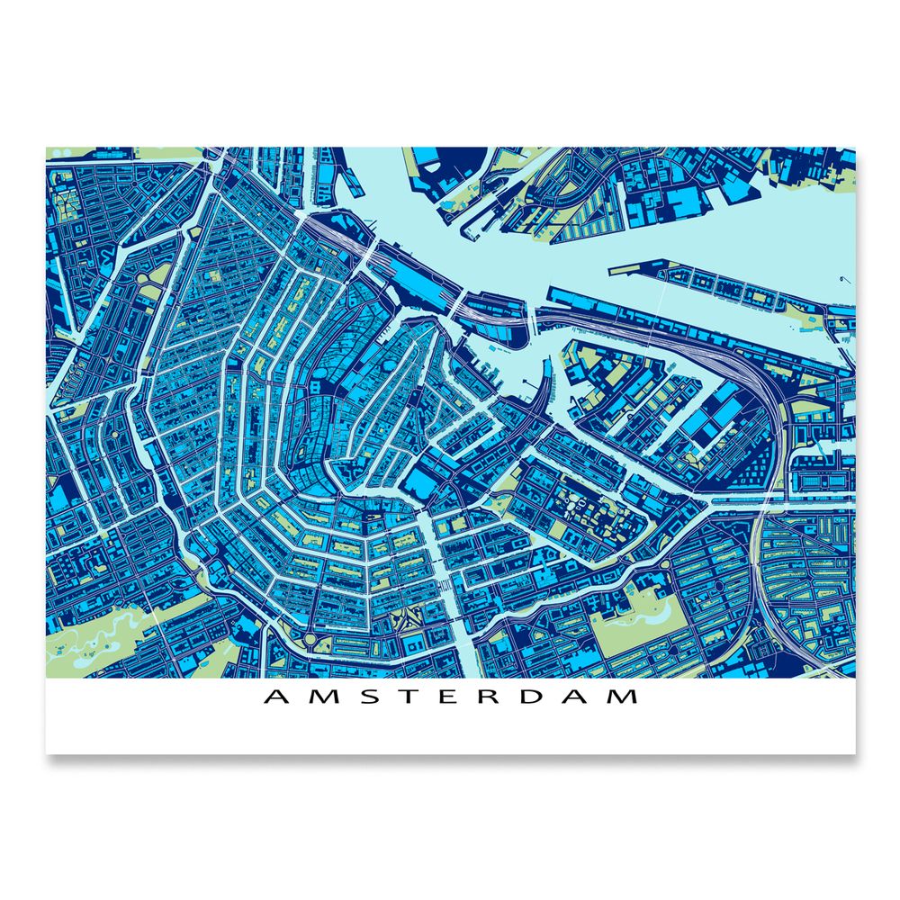 Amsterdam Map Print, Netherlands, Blue