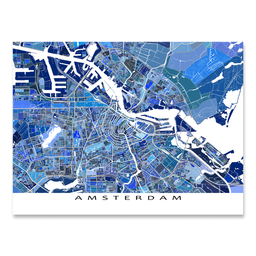 Amsterdam, Netherlands map art print in blue shapes from Maps As Art.