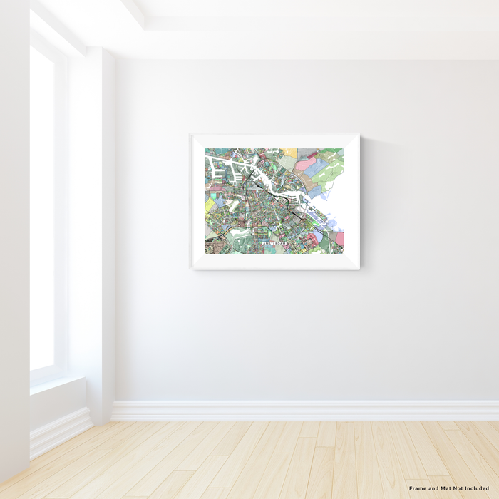 Amsterdam, the Netherlands map art print in colorful shapes from Maps As Art.