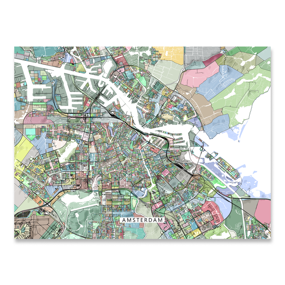 Amsterdam Map Print, Netherlands, Colorful