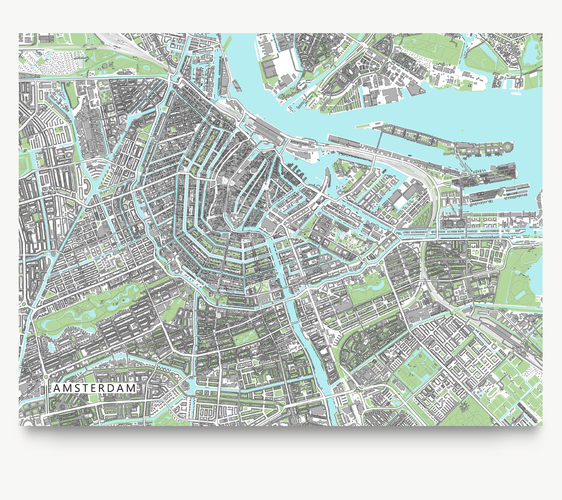 Amsterdam, Netherlands map art print with city streets and buildings from Maps As Art.