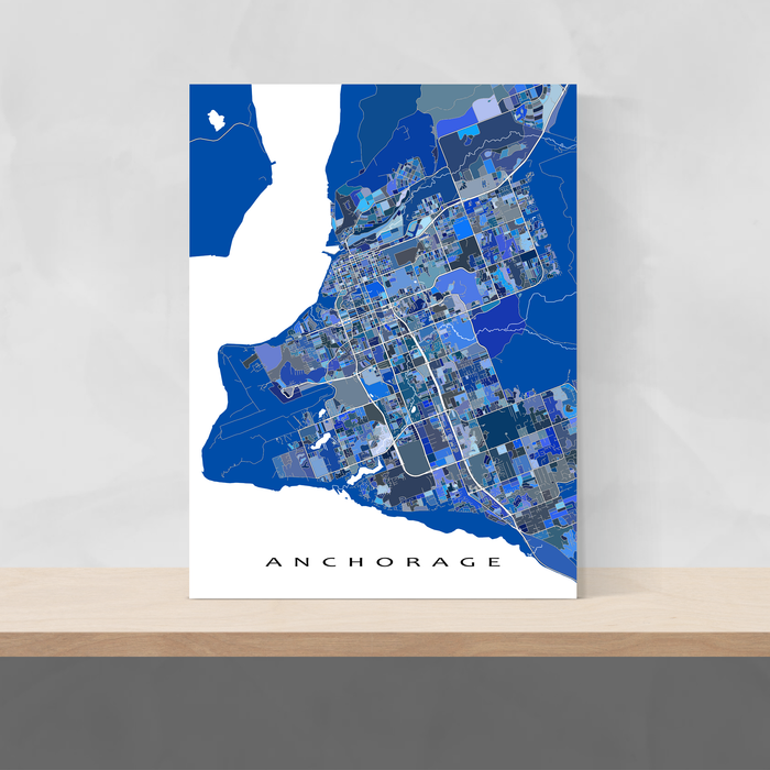 Anchorage, Alaska map art print in blue shapes from Maps As Art.