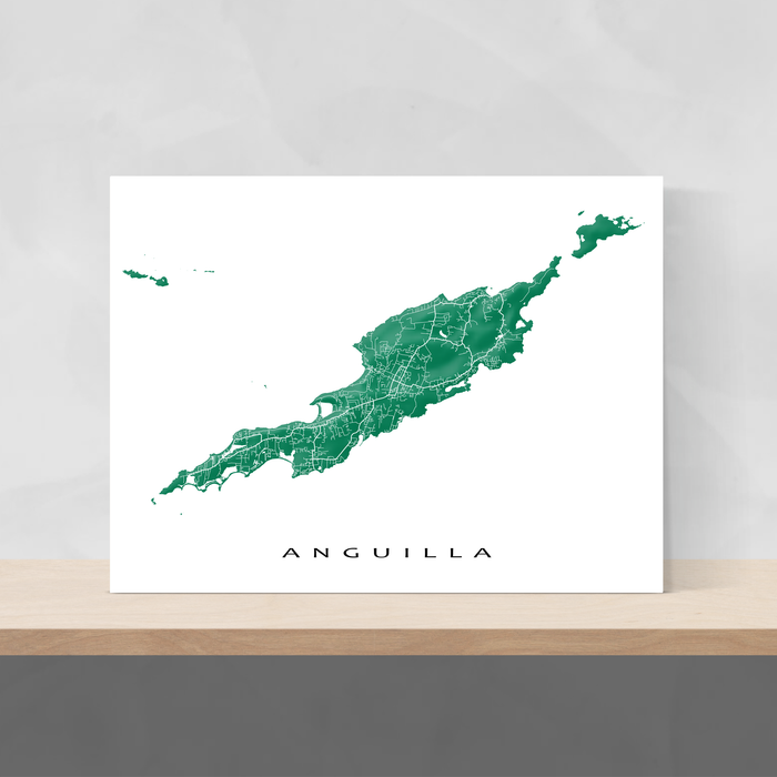 Anguilla map print with natural landscape and main roads in Green from Maps As Art.