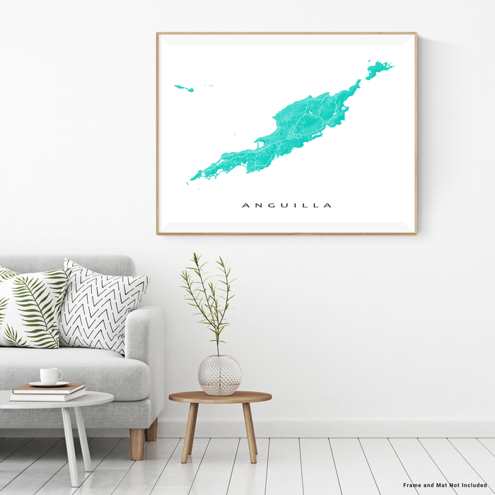 Anguilla map print with natural landscape and main roads in Turquoise from Maps As Art.